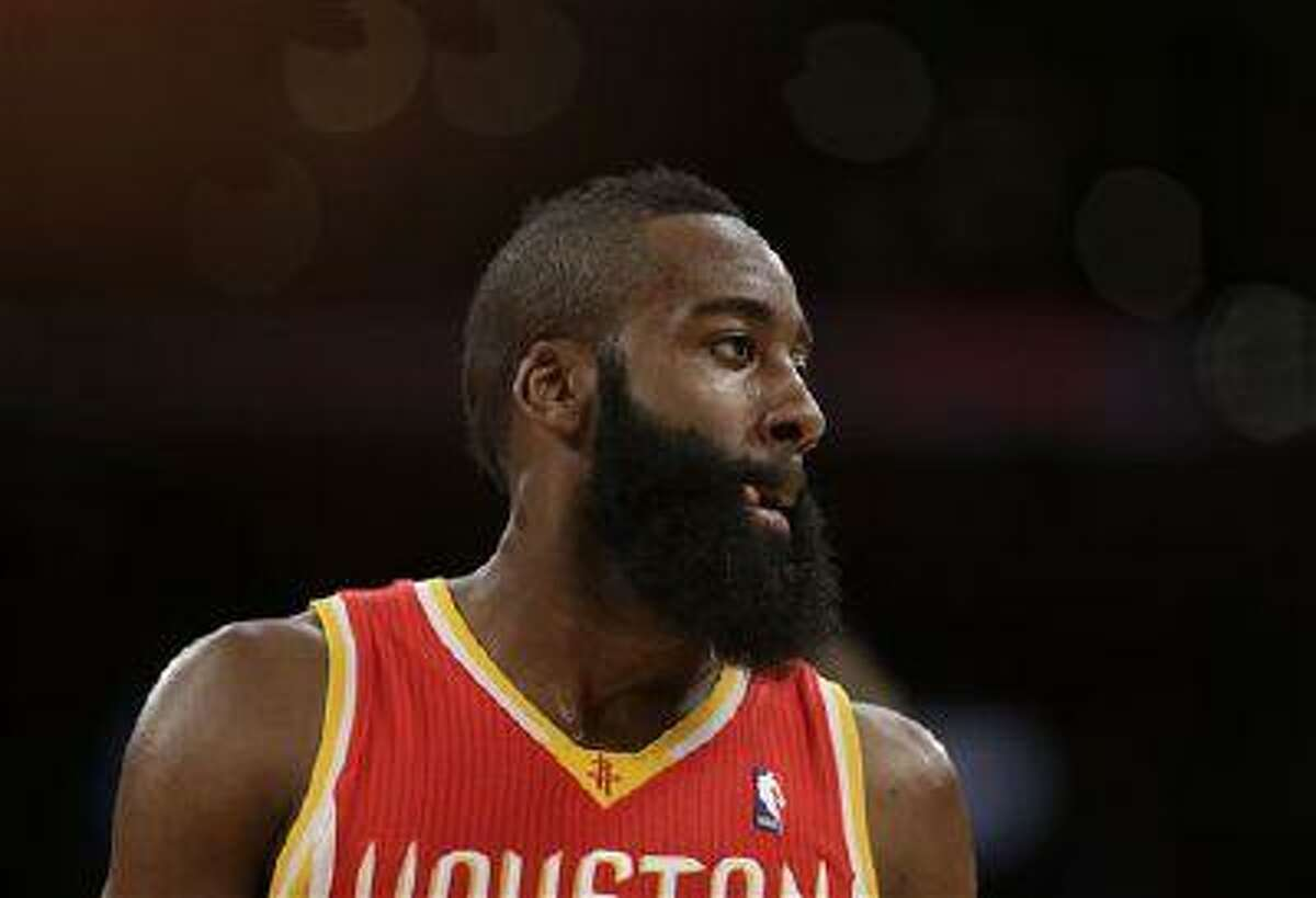 Houston Rockets' James Harden during the first half of an NBA game against the Los Angeles Lakers in Los Angeles, April 17, 2013