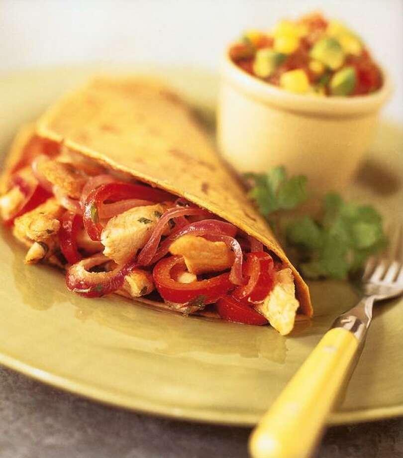 Jonelle Weaver/TMS photo: Chicken Fajitas With Avocado-Corn Salsa  and Warm Corn Tortillas Photo: Jonelle Weaver
