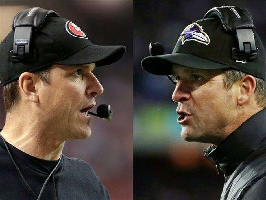 This combo image made of Sunday, Jan. 20, 2013, photos shows San Francisco 49ers head coach Jim Harbaugh, left, in Atlanta, and Baltimore Ravens head coach John Harbaugh in Foxborough, Mass., during their NFL football conference championship games. Get ready for the Brother Bowl_ it'll be Harbaugh vs. Harbaugh when Big Bro John's Baltimore Ravens (13-6) play Little Bro Jim's San Francisco 49ers (13-4-1) in the Super Bowl at New Orleans in two weeks. (AP Photos/Mark Humphrey, Matt Slocum) Photo: ASSOCIATED PRESS / AP2013