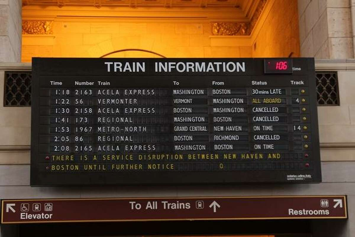 An increased security presence was both inside and outside of Union Station in New Haven. An Amtrak Police Department K-9 unit circled around the main concourse. The train time board in the station predominantly showed the status of trains going to and from Boston around 1:30 p.m.. Trains that were scheduled to arrive in Boston from Richmond, VA and Washington, DC were cancelled