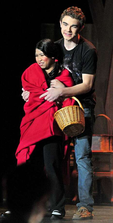 Kristine Khantikone (left) as Little Red Ridinghood and Johnny Millerick (right) as the Wolf rehearse a scene from Into The Woods at East Haven High School on 3/20/2013.Photo by Arnold Gold/New Haven Register    AG0488D