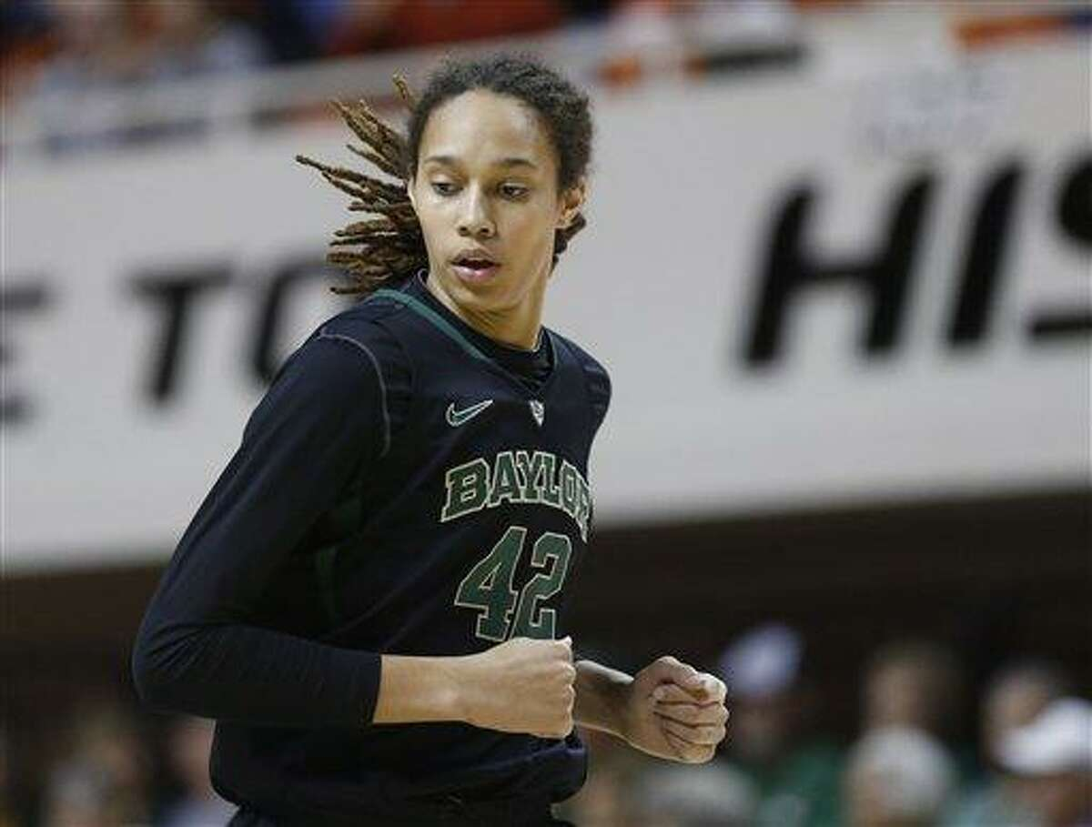 Baylor 's Brittney Griner (42) runs up the court in the first half of an NCAA college basketball game against Oklahoma State in Stillwater, Okla., Saturday, Feb. 2, 2013. (AP Photo/Sue Ogrocki)