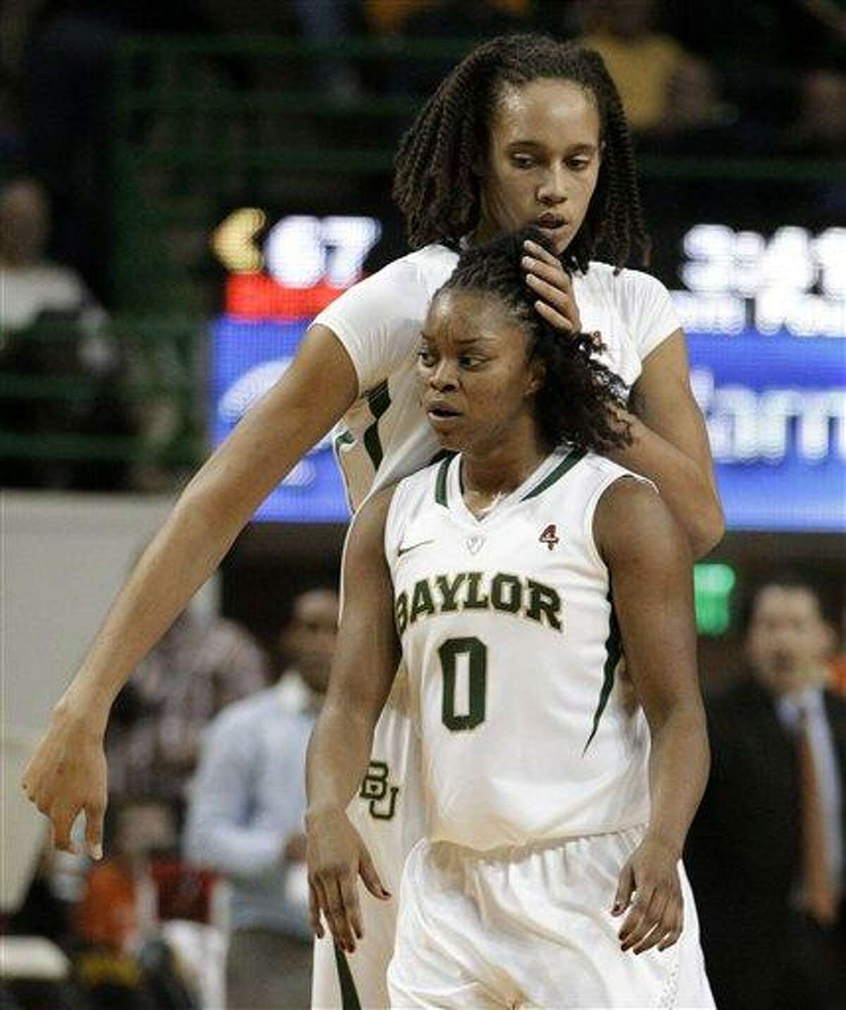 Baylor's Brittney Griner and Odyssey Sims (0).(AP File Photo/Tony Gutierrez)
