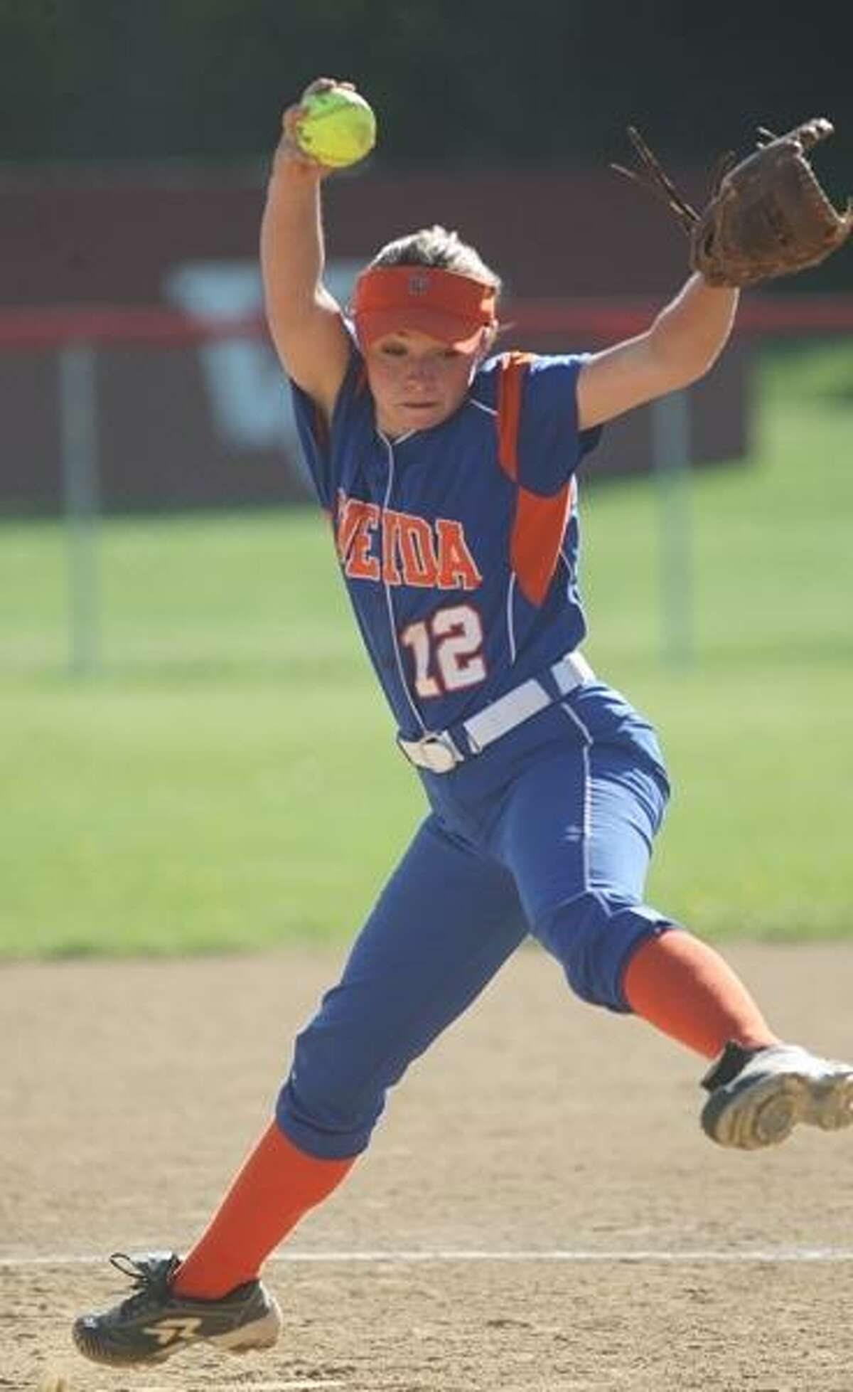 PHOTO BY JOHN HAEGER @ONEIDAPHOTO ON TWITTER/ONEIDA DAILY DISPATCH Oneida's Ashley Marshall (12) delivers a pitch against VVS on Tuesday, May 7, 2013 in Verona. Oneida is the top-seeded team in the Class A tournament.