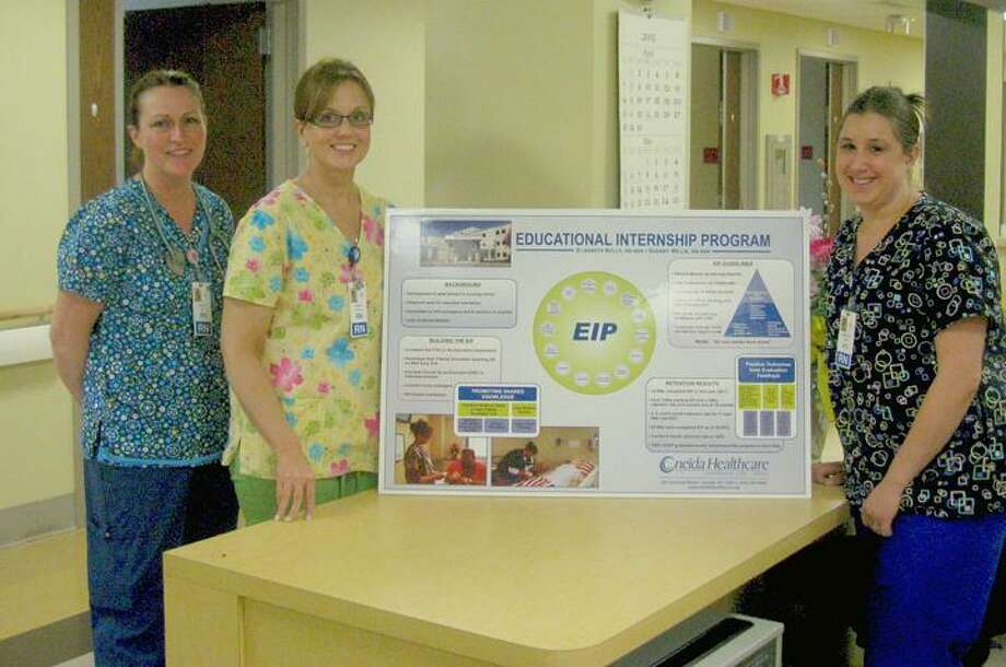 """Photo Courtesy Oneida Healthcare From left are Kelly Hey, RN; Stacy Sergent, RN; and Danielle Perior, RN. They were among the first nurses to complete Oneida Healthcare's """"Best Practice"""" award-winning Educational Internship Program."""