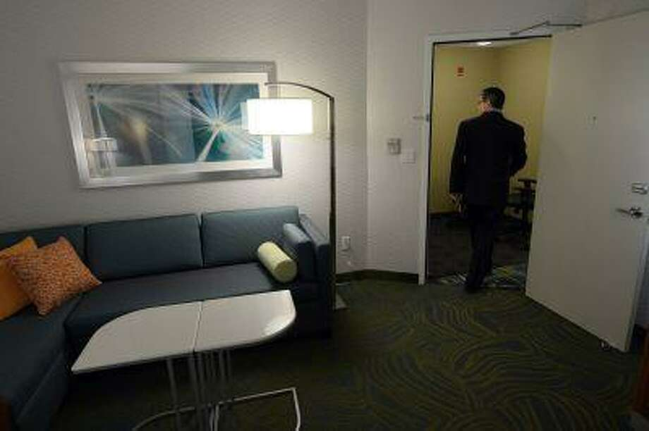 Marriott's Paul Cahill talks about the new innovation lab in the lowest level of the company headquarters in Bethesda, Md. The lab will allow Marriott to test different items and options for hotel rooms. Photo: THE WASHINGTON POST / THE WASHINGTON POST