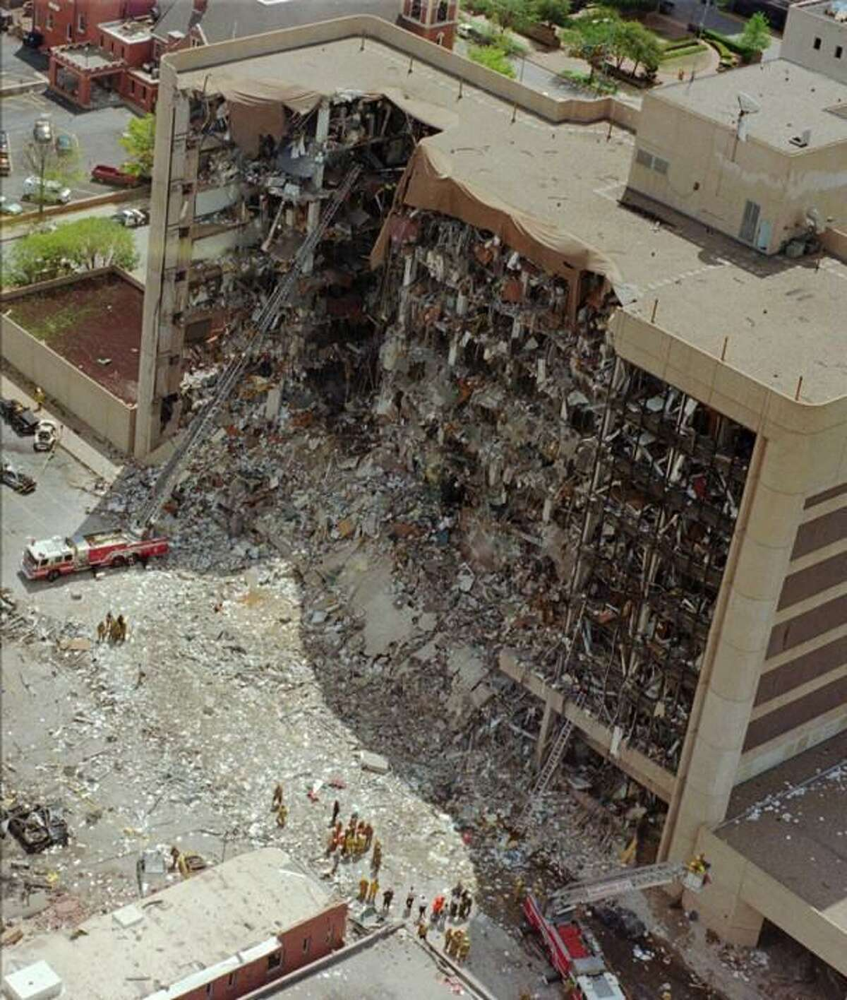 The Oklahoma City federal building after the April 19, 1995, bombing by Timothy McVeigh.