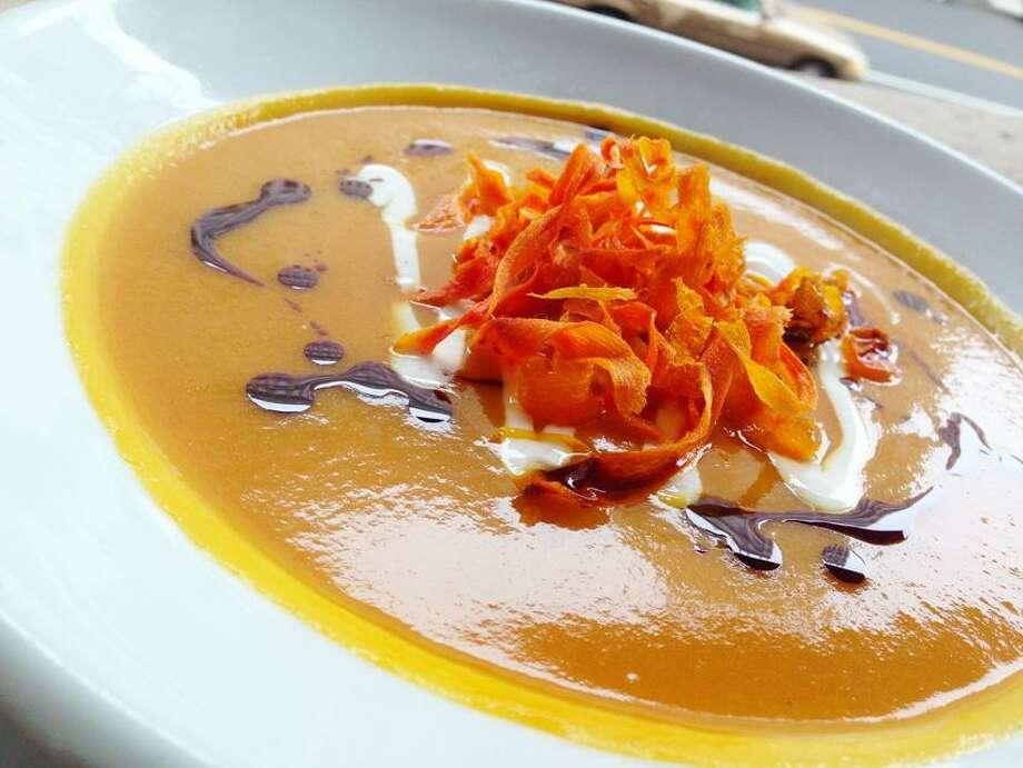 Will Going/Chef Geoff Universal photo: Winter Squash Bisque with carrot garnish.