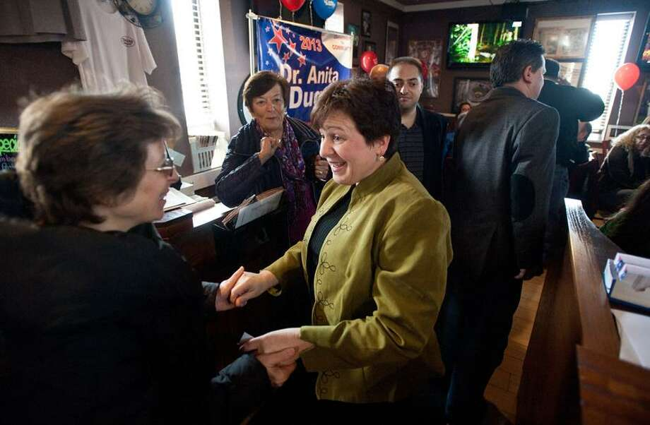 Derby-- Dr. Anita Dugatto greets Jennifer Desroches (of Derby) during a kick-off party for her mayoral candidacy at the Italian Pavilion restaurant on Sunday.  Photo-Peter Casolino