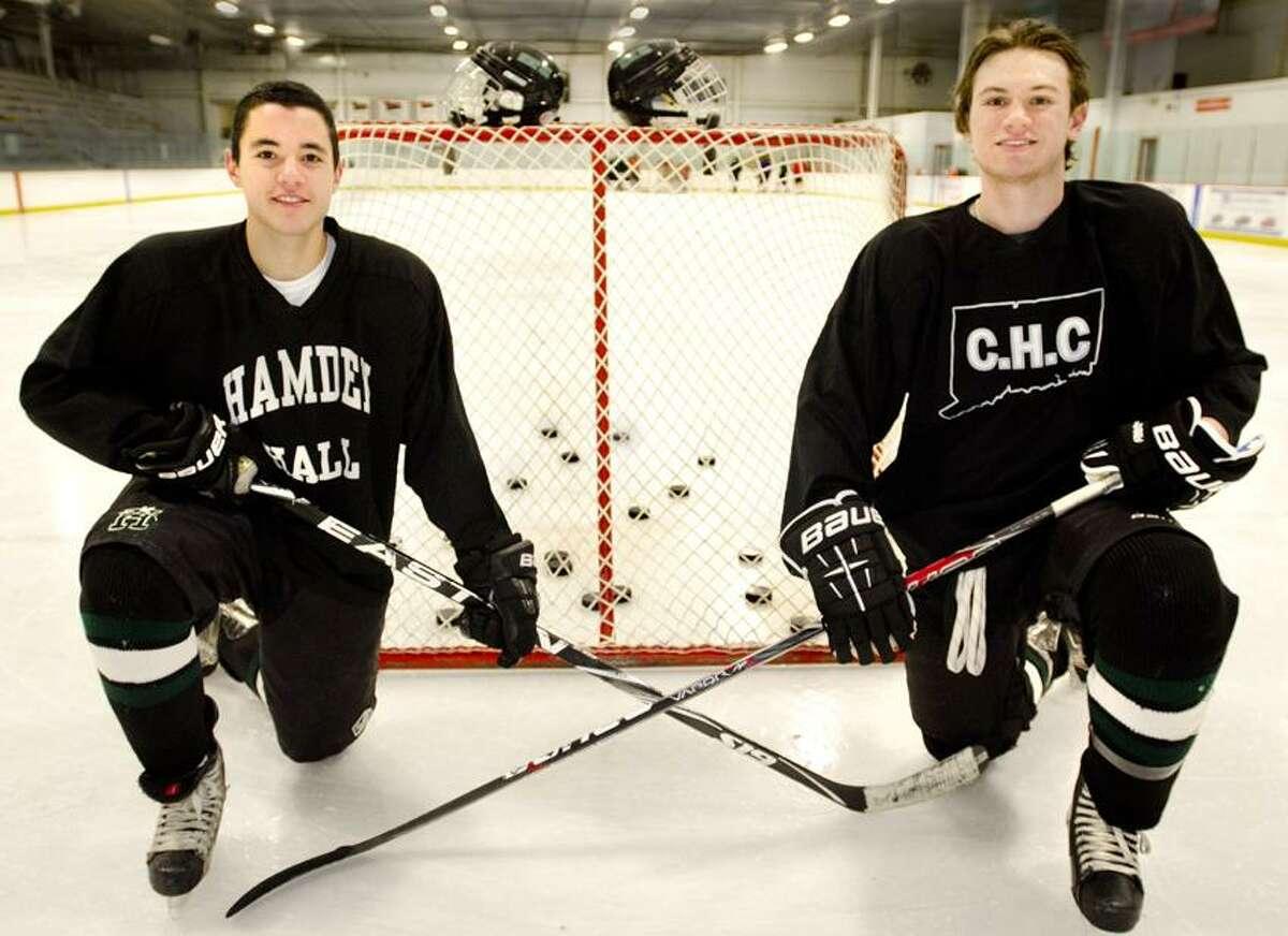 Jamie DeNicola, left, and Joe Lord are the co-captains of the Hamden Hall boys' hockey team. (Melanie Stengel/Register)