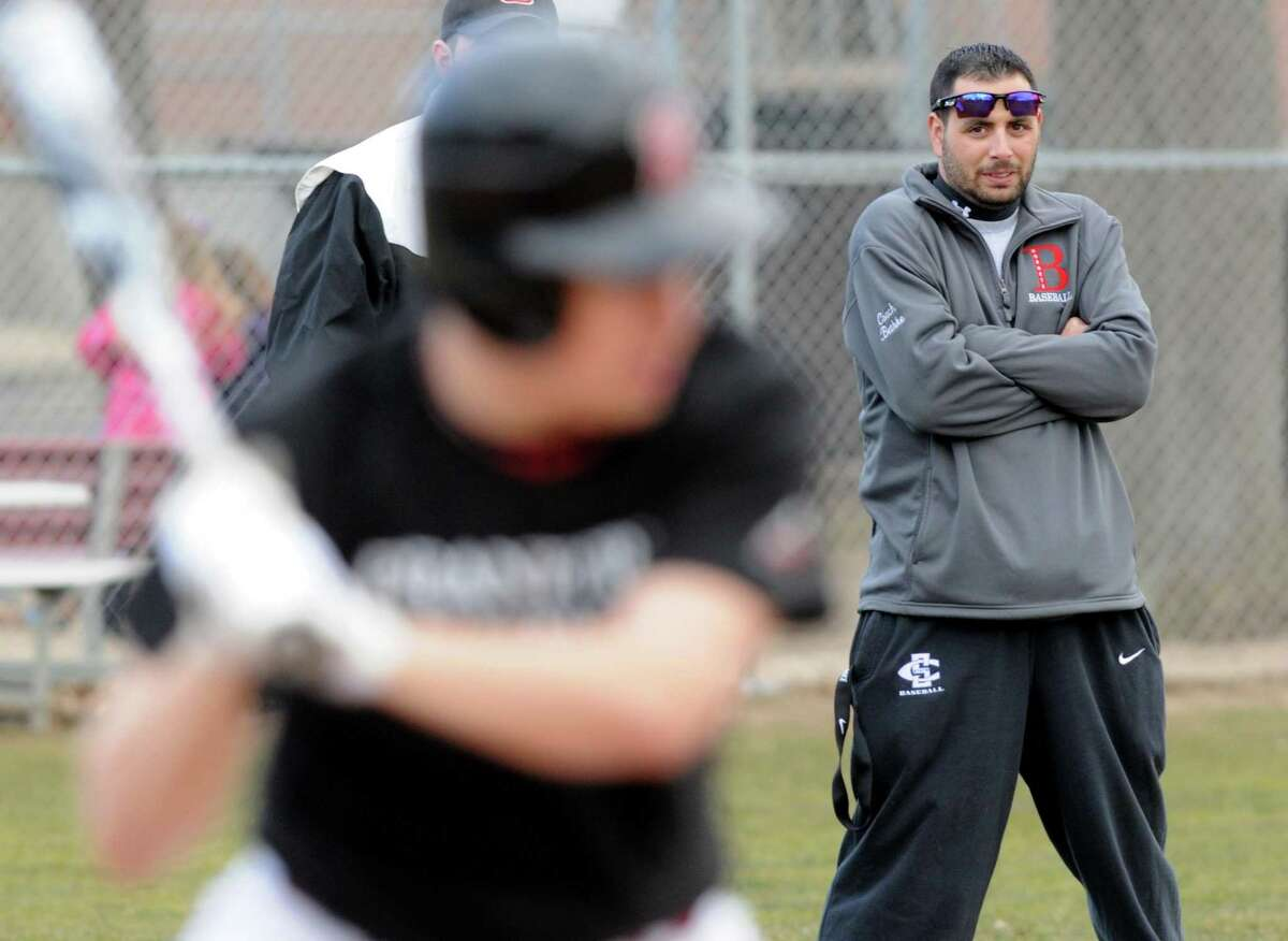 Branford baseball coach Ed Bethke, right, and his Hornets face Foran on Wednesday in an SCC game to watch. Mara Lavitt/New Haven Register