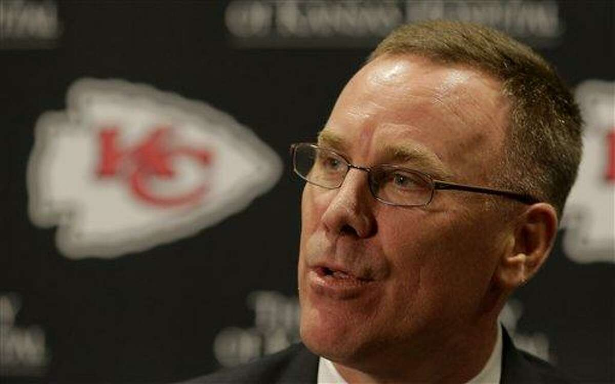 New Kansas City Chiefs general manager John Dorsey speaks to the media at a news conference Monday, Jan. 14, 2013, in Kansas City, Mo. (AP Photo/Charlie Riedel)