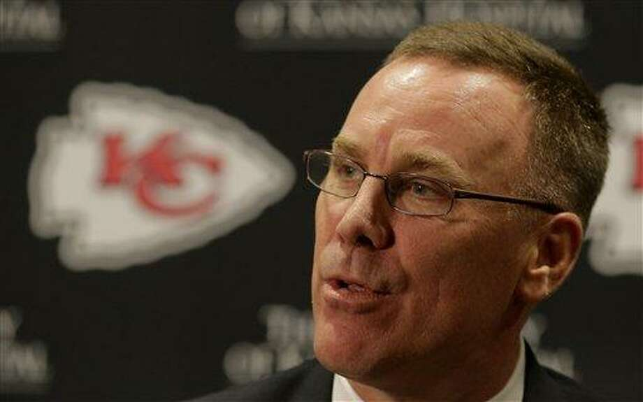 New Kansas City Chiefs general manager John Dorsey speaks to the media at a news conference Monday, Jan. 14, 2013, in Kansas City, Mo. (AP Photo/Charlie Riedel) Photo: AP / AP