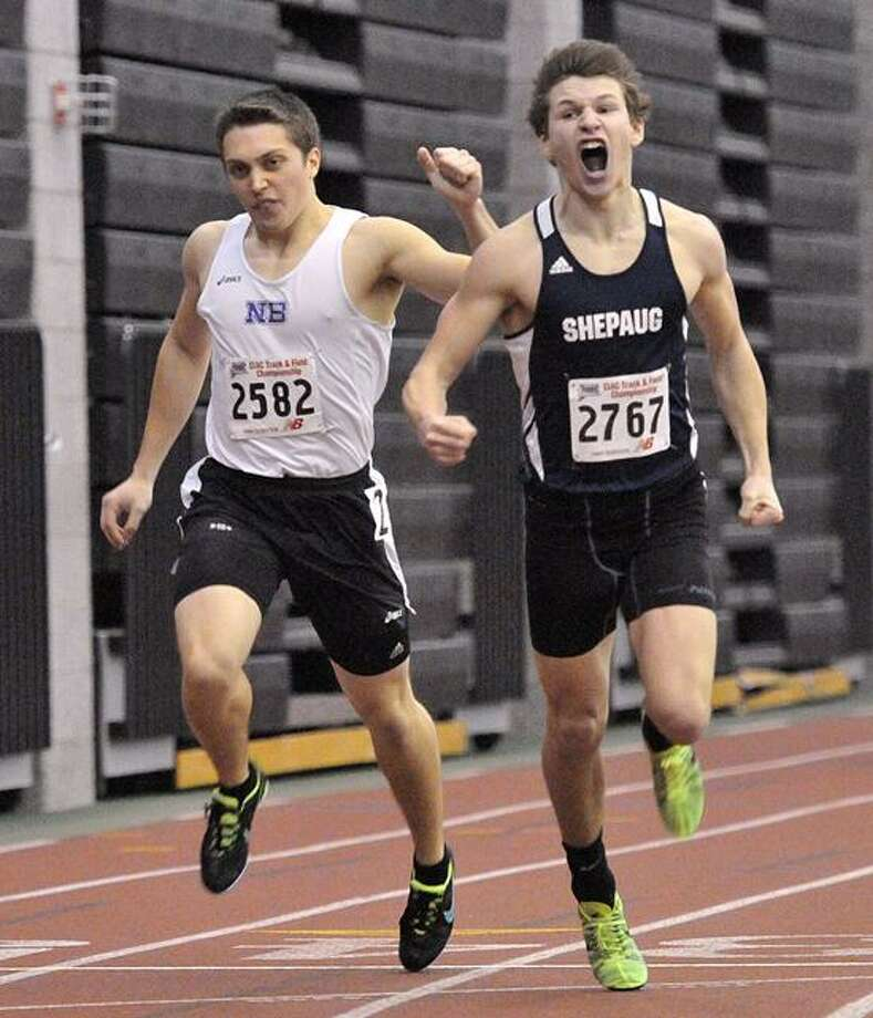 New Haven--Logan Ross of Shepaug and Matt Edwards of North Branford come in first and second during the second heat of the 600. Photo-Peter Casolino 2/14/13