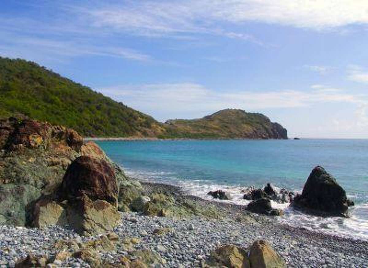 A blue cobblestone beach and trail leading to Ram Head, on the south shore of St. John, U.S. Virgin Islands, is seen in this handout photo taken in January.