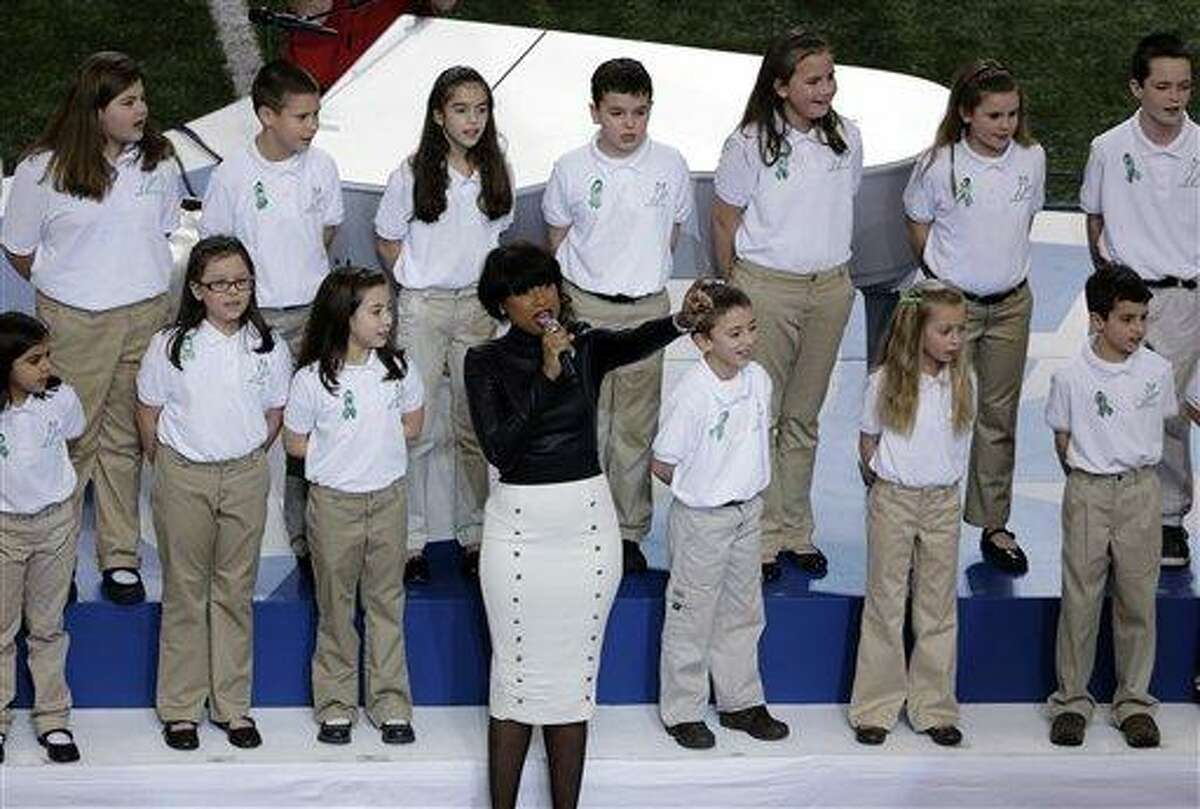 Jennifer Hudson performs with students from Sandy Hook Elementary School singing