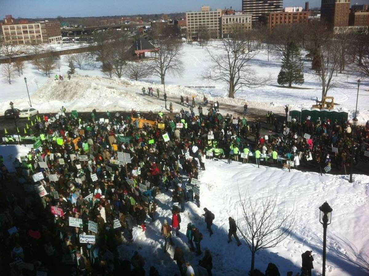 Protesters at the anti-gun rally at about 10:45 a.m. Thursday at the Capitol in Hartford. Peter Hvizdak/Register