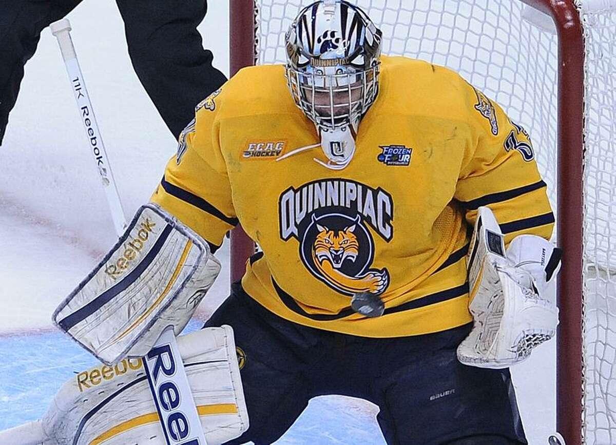 Pittsburg, PA-- Quinnipiac goalie Eric Hartzell. Photo-Peter Casolino/Register pcasolino@newhavenregister.com