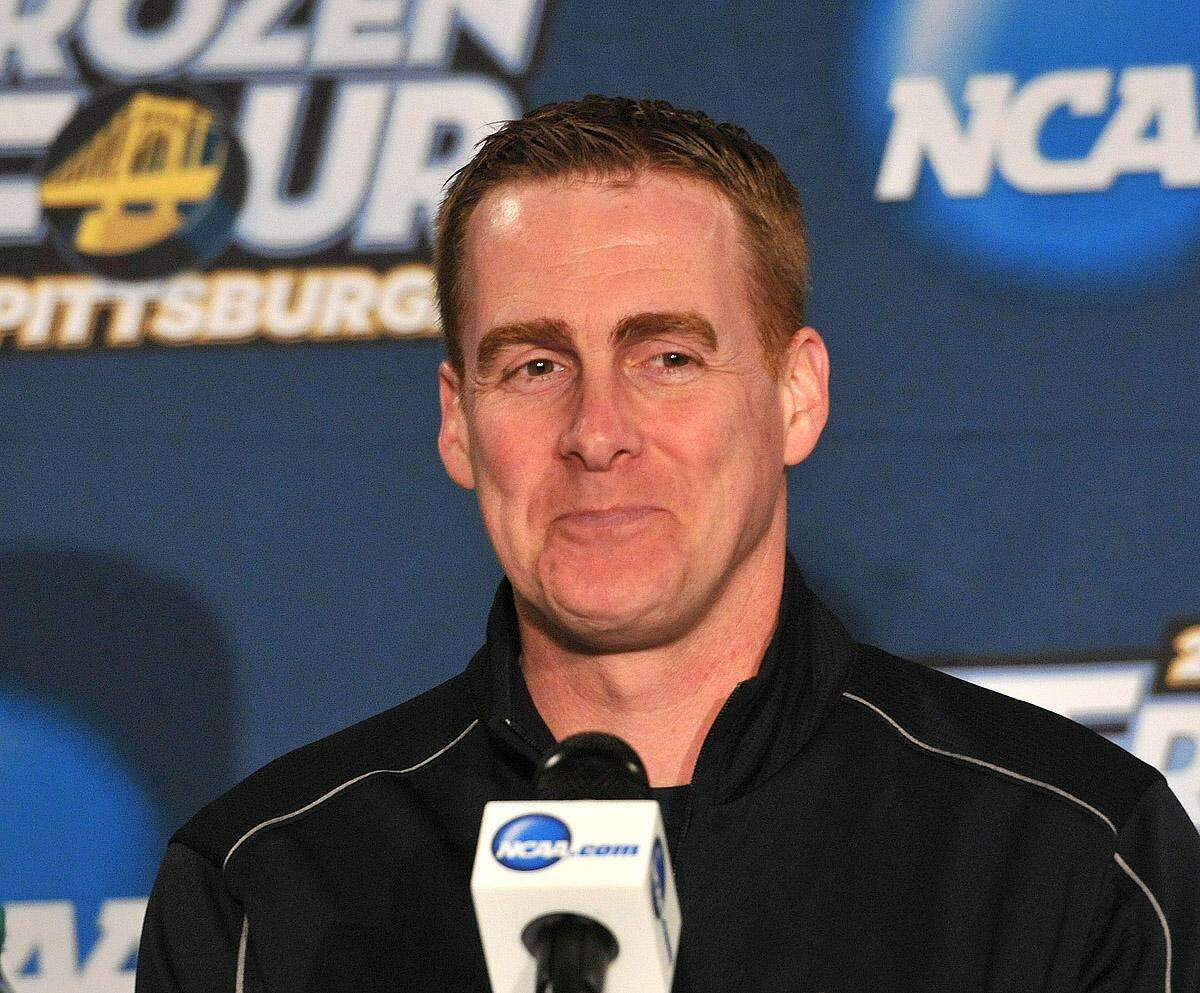 Pittsburg, PA-- Quinnipiac coach Rand Pecknold during a press conference as they prepare to battle Yale for the National Championship. Photo-Peter Casolino/Register pcasolino@newhavenregister.com