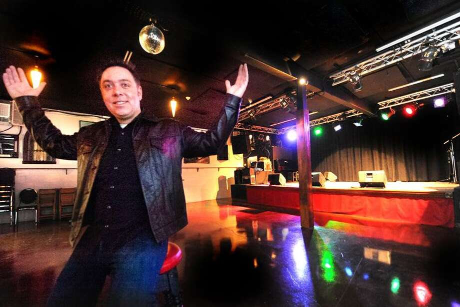 VM Williams/Register photo: Steve Rodgers is ready to invite the public to his Spaceland Ballroom, which joins his clubs, The Space and The Outer Space, at 295 Treadwell St. in Hamden. Incidentally, the owner and his brother Jonny Rodgers will do the grand opening show as the Mighty Purple.