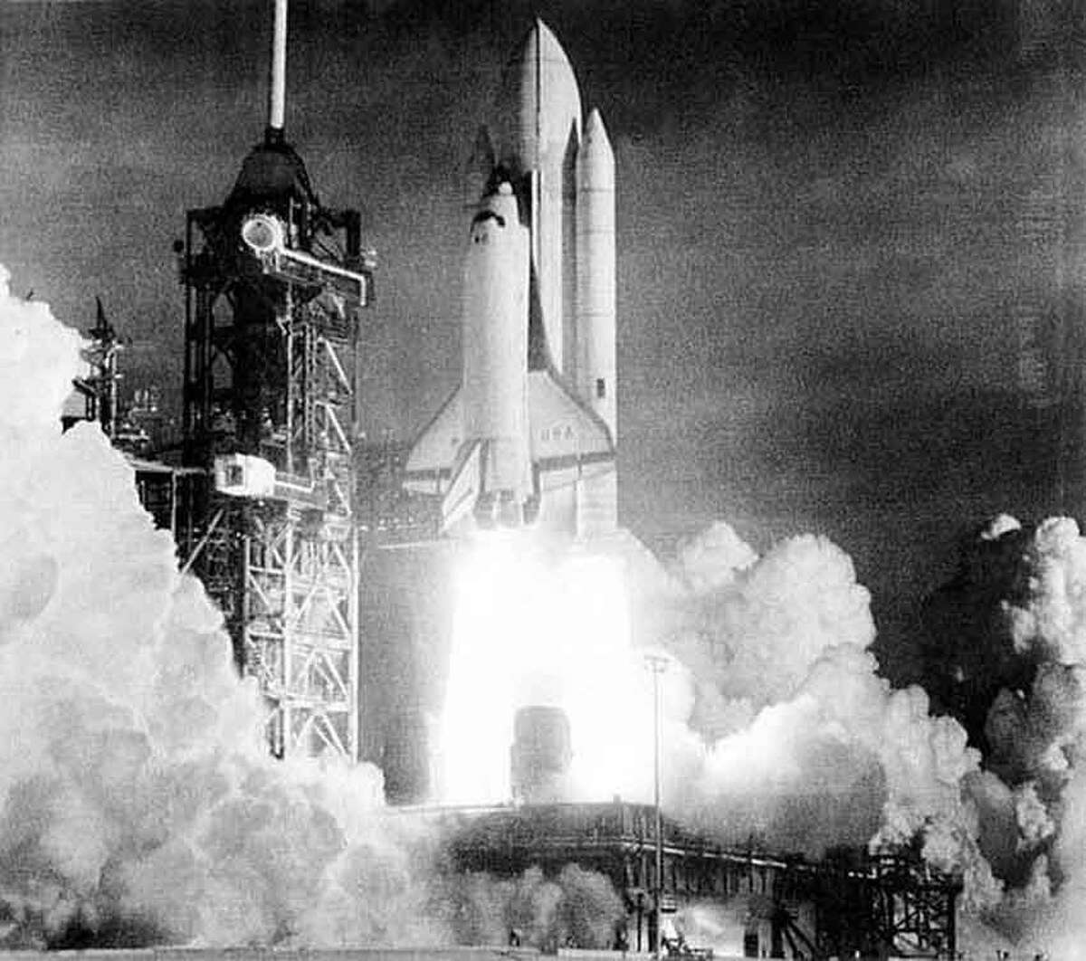 The Space Shuttle Columbia is lifted off the launch pad at Cape Canaveral, making the first flight of this reusable spacecraft, at Kennedy Space Center, Fla., Sunday, April 12, 1981. (AP Photo/NASA)