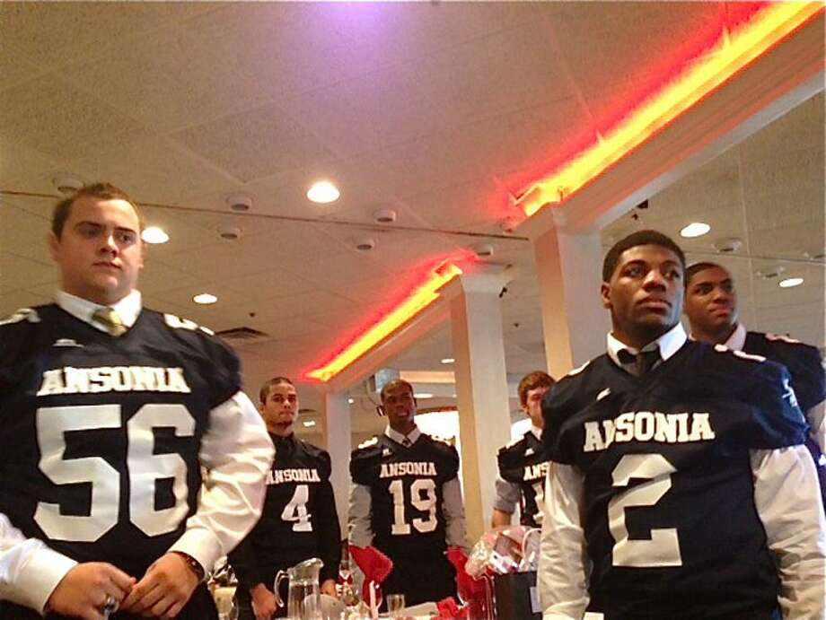 Members of the Ansonia football team at the Walter Camp Football Foundation Breakfast of Champions. (Mary Albl/Register)