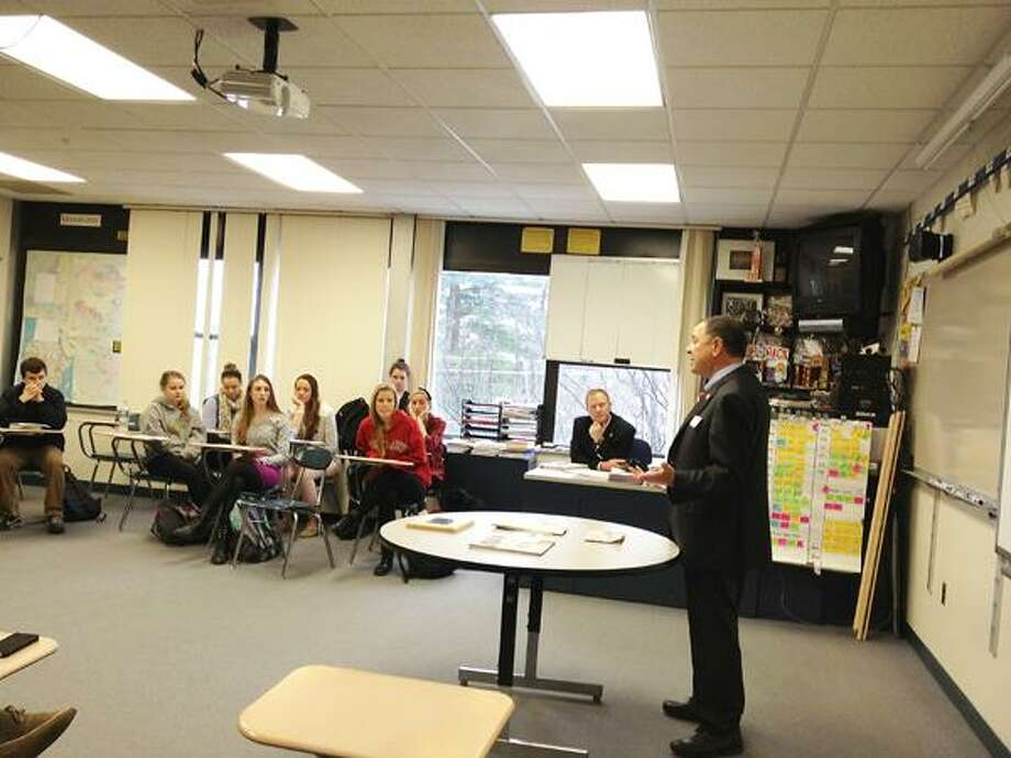Dispatch Staff Photo by JOLENE CLEAVER Congressman Richard Hanna, R-22, talks with students in Kurt Wheeler's AP Government and History at Cazenovia High School on Friday, Jan. 11, 2013.