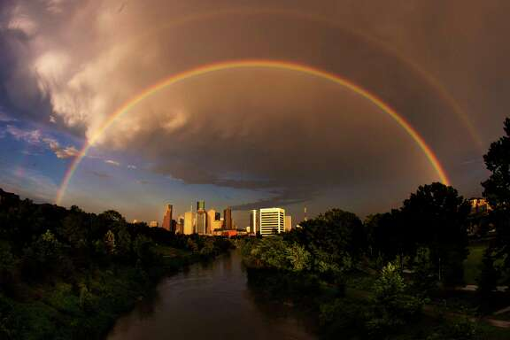 A double rainbow sits over the Houston skyline after heavy storms passed through the area Saturday, July 8, 2017 in Houston. ( Michael Ciaglo / Houston Chronicle )