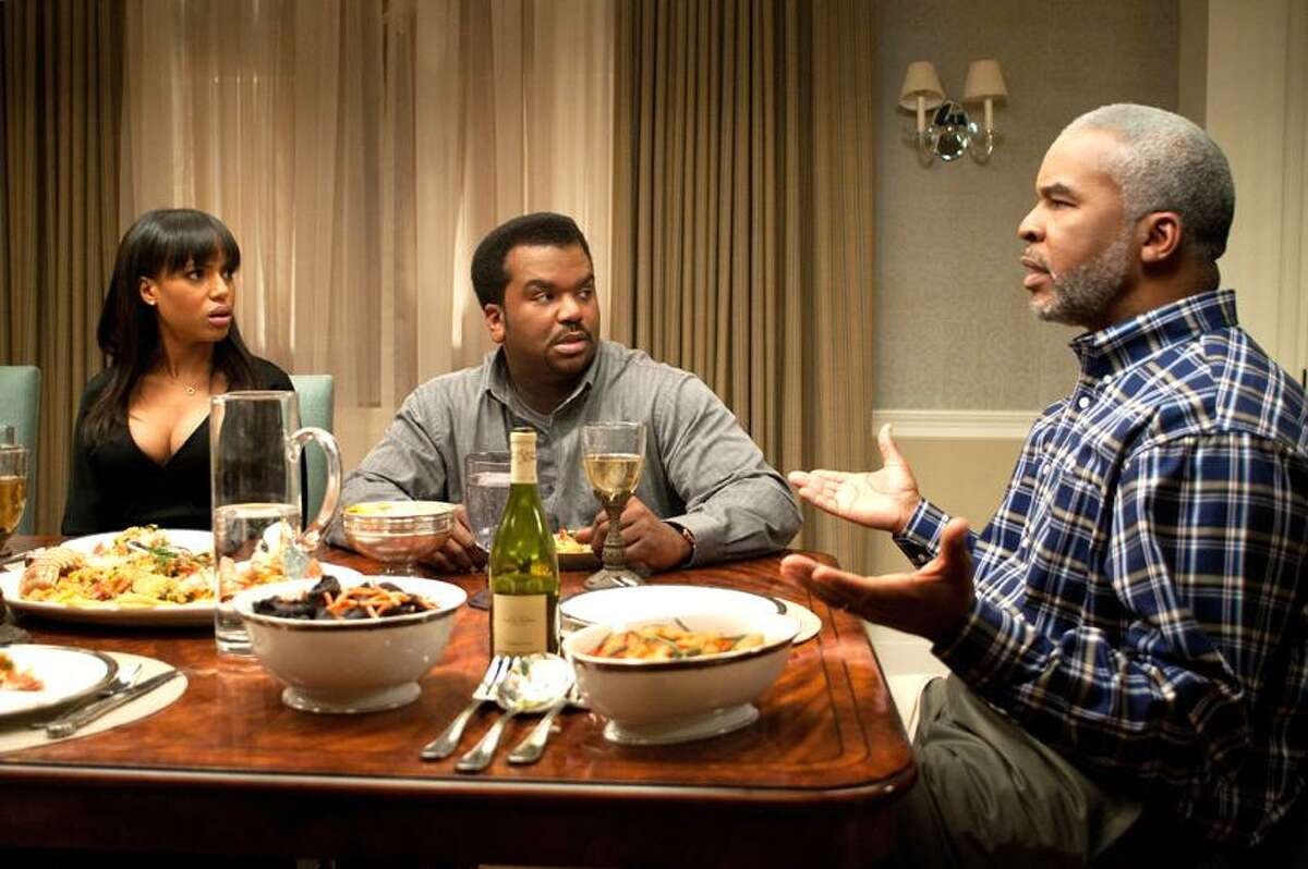 """Nicole Rivelli/Lionsgate photo: Plenty of laughs to be found in """"Peeples,"""" starring Kerry Washington as Grace Peeples, Craig Robinson as Wade Walker and David Alan Grier as Virgil Peeples."""