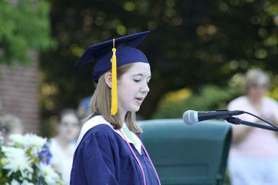 Salutatorian Amanda Spelbos of Kent speaking at graduation at Housatonic Valley Regional High School in 2010.