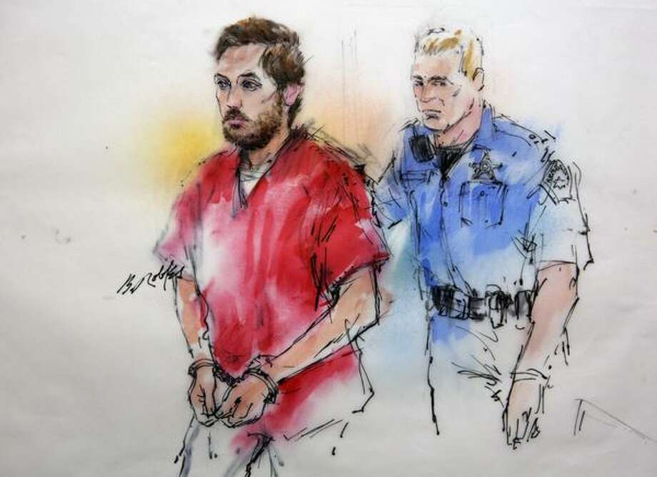 This courtroom sketch shows James Holmes being escorted by a deputy as he arrives at preliminary hearing in district court in Centennial, Colo., on Monday, Jan. 7, 2013. Investigators say Holmes opened fire during the midnight showing of the latest Batman movie on July 20, killing 12 people and wounding dozens. (AP Photo/Bill Robles, Pool) TV OUT Photo: AP / Pool AP