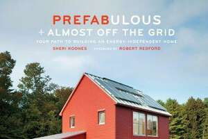 "The cover of Sheri Koones' new book ""Prefaulous + Almost Off the Grid""; Koones is on a mission to educate Americans about home building."