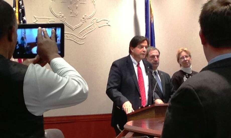 State Rep. Phil Miller speaks at the Hartford event calling for GMO labeling. Joe Amarante/Register
