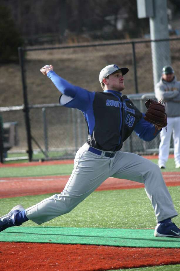 Submitted Photo: Lisa Brochu Former Gilbert High School standout Austin Brochu is a freshman at Southern Connecticut State Universtiy. In his first start for SCSU, Brochu pitched well against LIU Post.