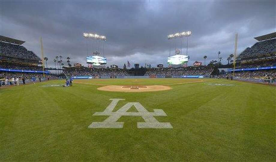 The field Dodgers Stadium is seen prior to the Los Angeles Dodgers' baseball game against the San Diego Padres, Monday, April 15, 2013, in Los Angeles.  (AP Photo/Mark J. Terrill) Photo: AP / AP