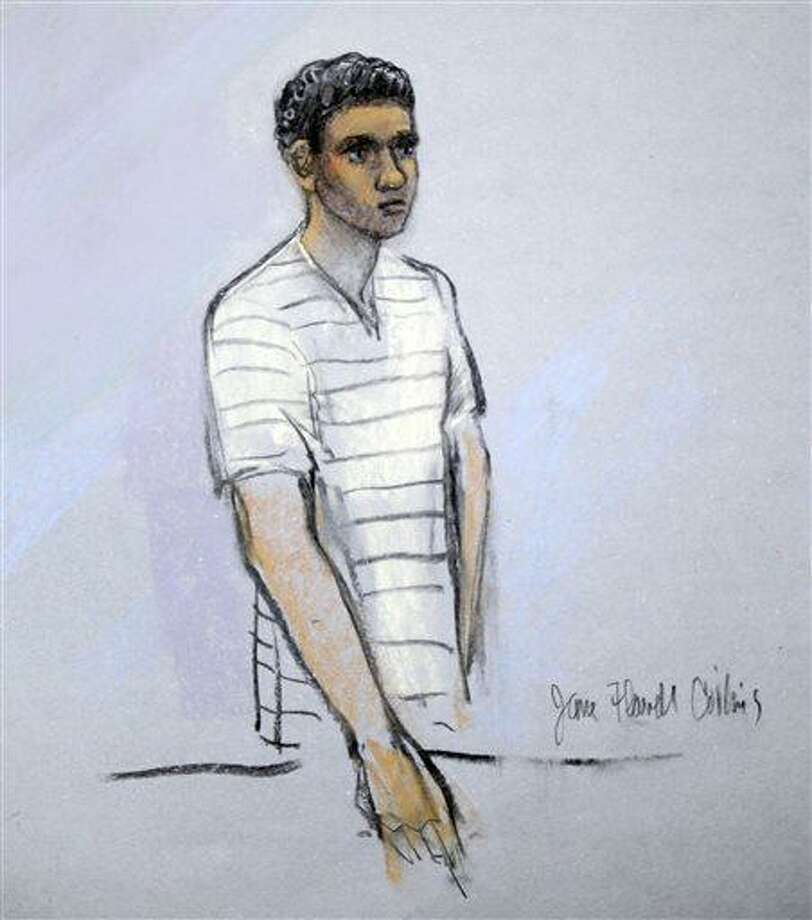 This courtroom sketch shows defendant Robel Phillipos appearing in front of Federal Magistrate Marianne Bowler at the Moakley Federal Courthouse in Boston, Mass. on Wednesday, May 1, 2013. Phillipos, and two other college friends of Boston Marathon bombing suspect Dzhokhar Tsarnaev, were arrested and charged with removing a backpack containing hollowed-out fireworks from Tsarnaev's dorm room. (AP Photo/Jane Flavell Collins) Photo: ASSOCIATED PRESS / AP2013