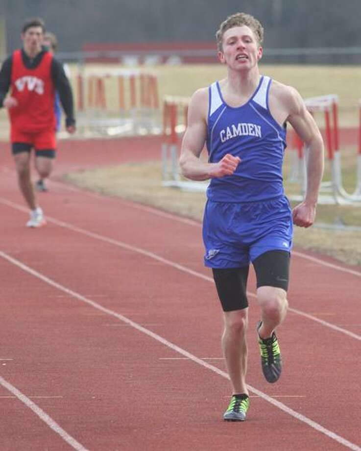 JOHN HAEGER @OneidaPhoto on Twitter/ONEIDA DAILY DISPATCHCamden's Brandon Arbes nears the finish line en route to wining the 400 in a time of 56.2 seconds during a meet against VVS on Friday in Verona.