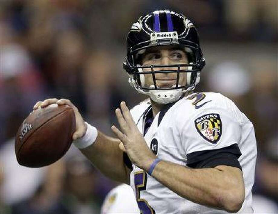 Baltimore Ravens quarterback Joe Flacco (5) looks to throw a pass during the first half of the NFL Super Bowl XLVII football game against the San Francisco 49ers in New Orleans, Feb. 3, 2013. Photo: ASSOCIATED PRESS / AP2013