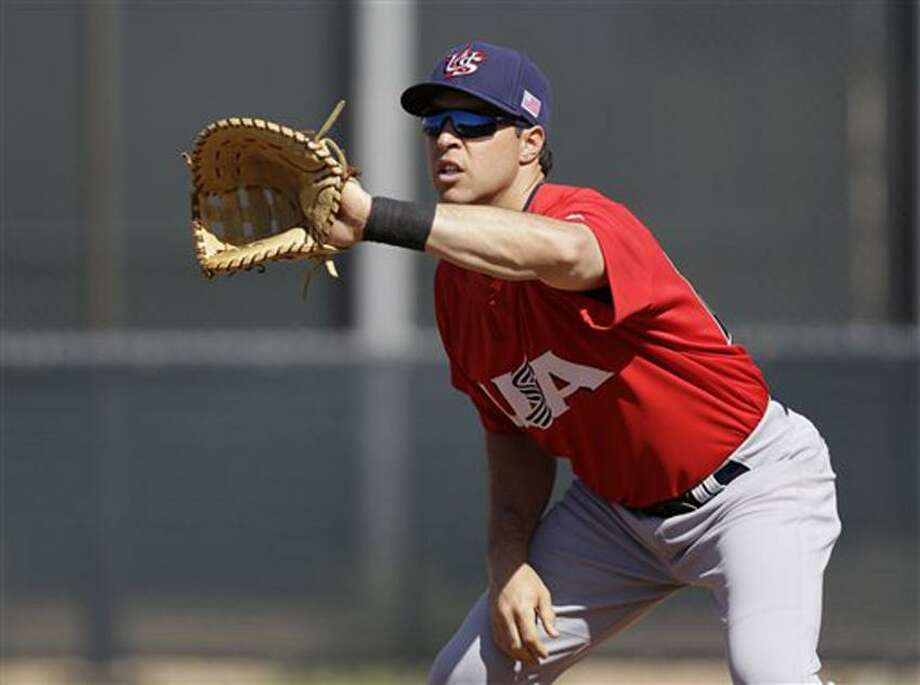 United States' Mark Teixeira during a training session in preparation for the World Baseball Classic on Monday, March 4, 2013 in Scottsdale. Ariz. The United States is scheduled to face Mexico in a first round game on Friday in Phoenix. (AP Photo/Marcio Jose Sanchez) Photo: AP / AP