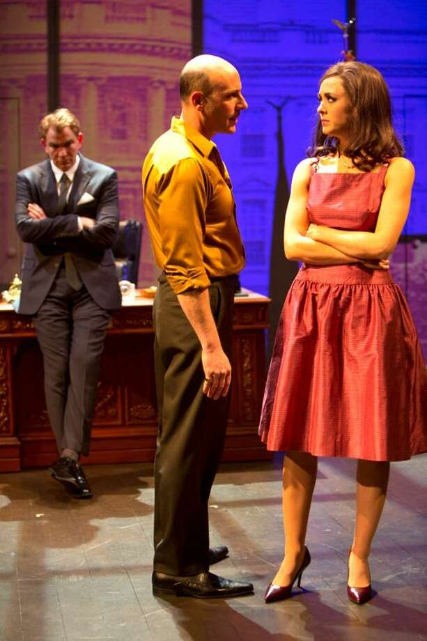 "T. Charles Erickson photo: Douglas Sills, left, as John F. Kennedy, and Jordan Lage as Sam Giancana share the ""other woman,"" Judith Exner, played by Christina Bennett Lind in Long Wharf Theatre's ""Ride the Tiger."" / © T Charles Erickson"