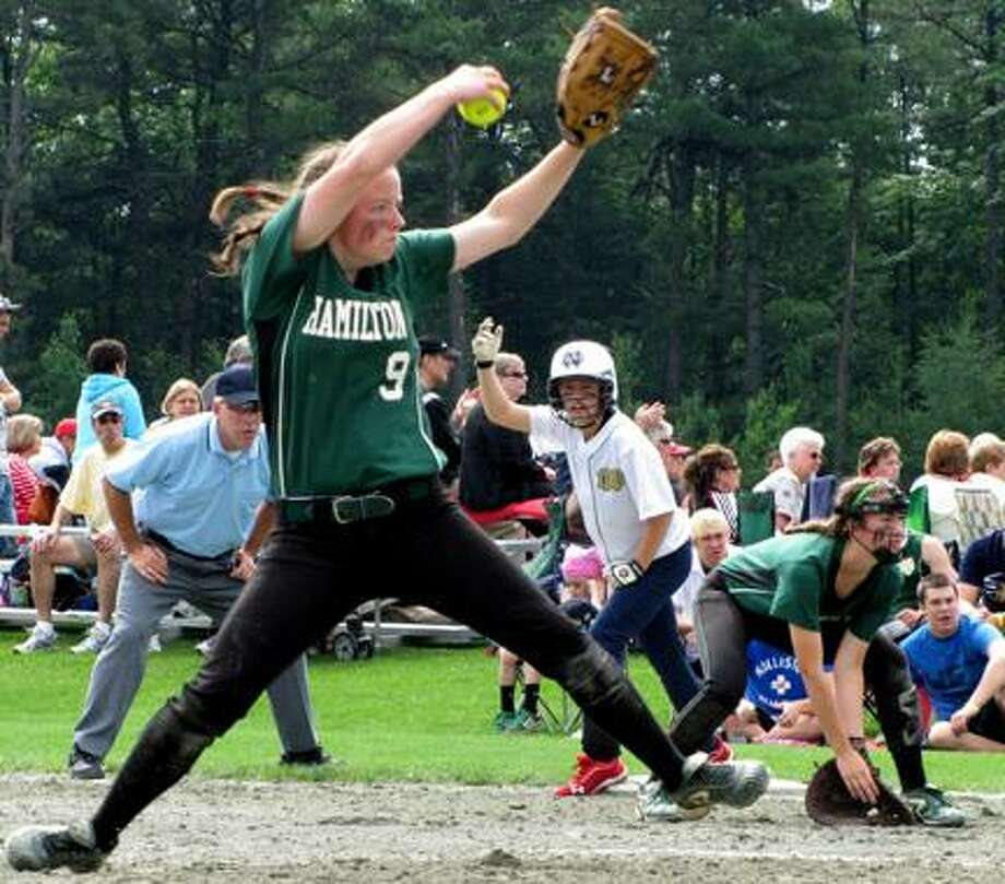 Submitted Photo/David Hollis Hamilton pitcher Becca Rogers throws a pitch during last year's Class D state semifinal against Batavia Notre Dame.