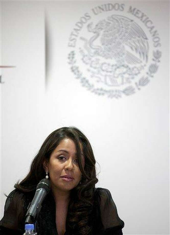 Mariana Benitez, Mexico's Assistant Attorney General, speaks during a news conference in Mexico City, Thursday, April 4, 2013. The Associated Press file photo. Photo: AP / AP