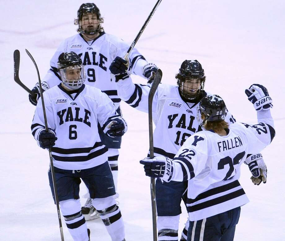 New Haven-- Yale celebrates Tommy Fallen's (#22) goal during the first period.  Photo-Peter Casolino