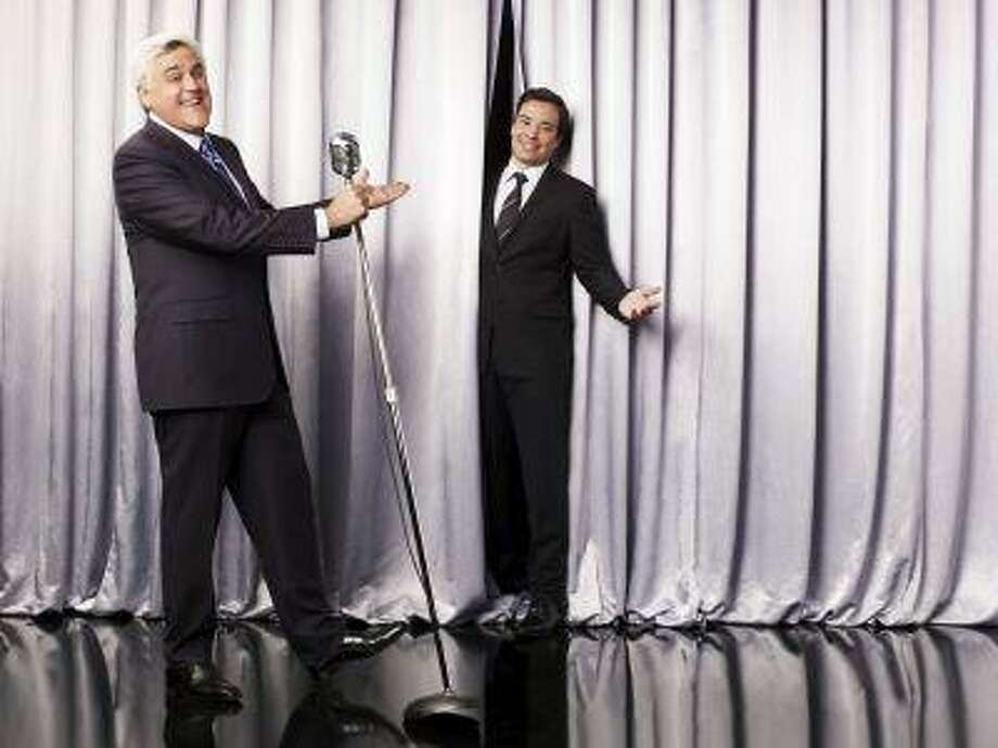"This undated promotional image released by NBC shows Jay Leno, host of ""The Tonight Show with Jay Leno,"" left, and Jimmy Fallon, host of ""Late Night with Jimmy Fallon,"" in Los Angeles. NBC on Wednesday, April 3, 2013 announced its long-rumored switch in late night, replacing incumbent Jay Leno at ""The Tonight Show"" with Jimmy Fallon and moving the iconic franchise back to New York. Leno will wrap up what will be 22 years of headlining the iconic late-night show in Spring 2014. ""Saturday Night Live"" producer Lorne Michaels will take over as producer of the new ""Tonight Show."" (AP Photo/NBC, Andrew Eccles) Photo: AP / NBC"