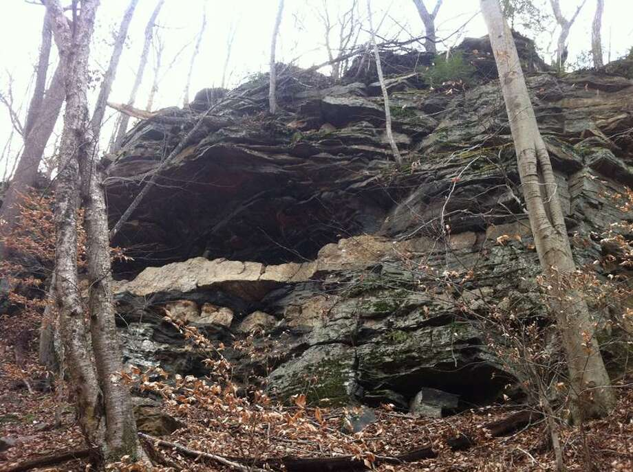 Madison Land Conservation Trust photo: These rock ledge caves were used by the Hammonasset Tribe.