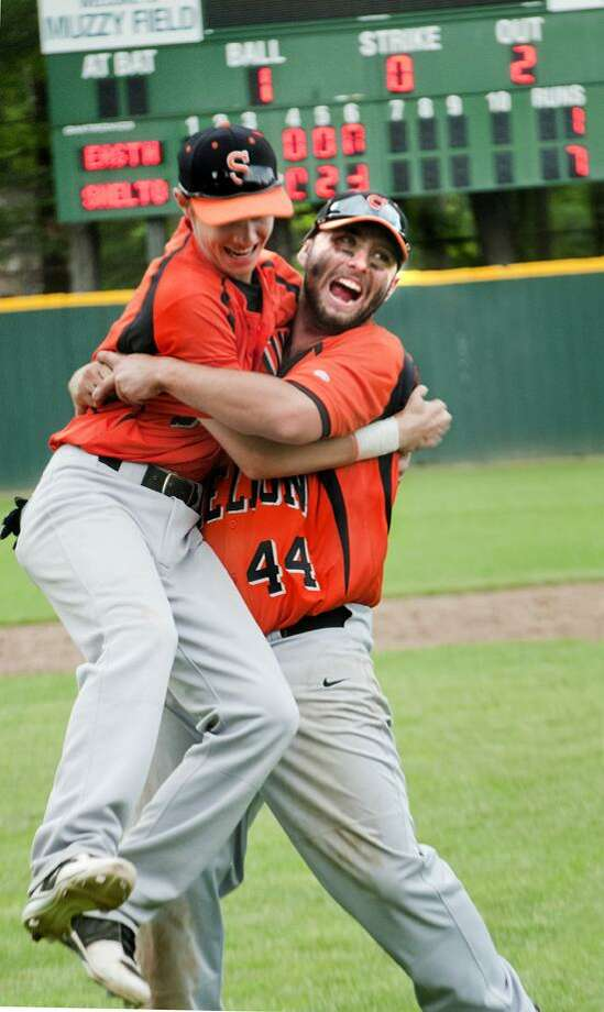 Shelton, pictured here celebrating its Class LL state semifinal-round win in 2012, is ranked No. 2 in the 2013 Register Top 10 preseason poll.    Melanie Stengel/Register