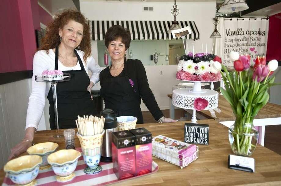 MILFORD-Sue Schower (L) and Darlene Delaney of Suzie Cakes, which will be  opening 3/5.   Melanie Stengel/Register