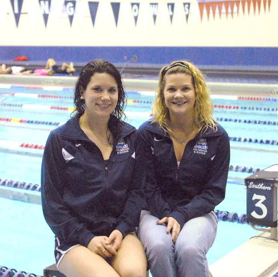 Southern Connecticut State University's Amanda, left, and Ashley Thomas will be competing at the NCAA Division II Swimming and Diving Championships starting Tuesday in Birmingham, Ala. (Mary Albl/Register)