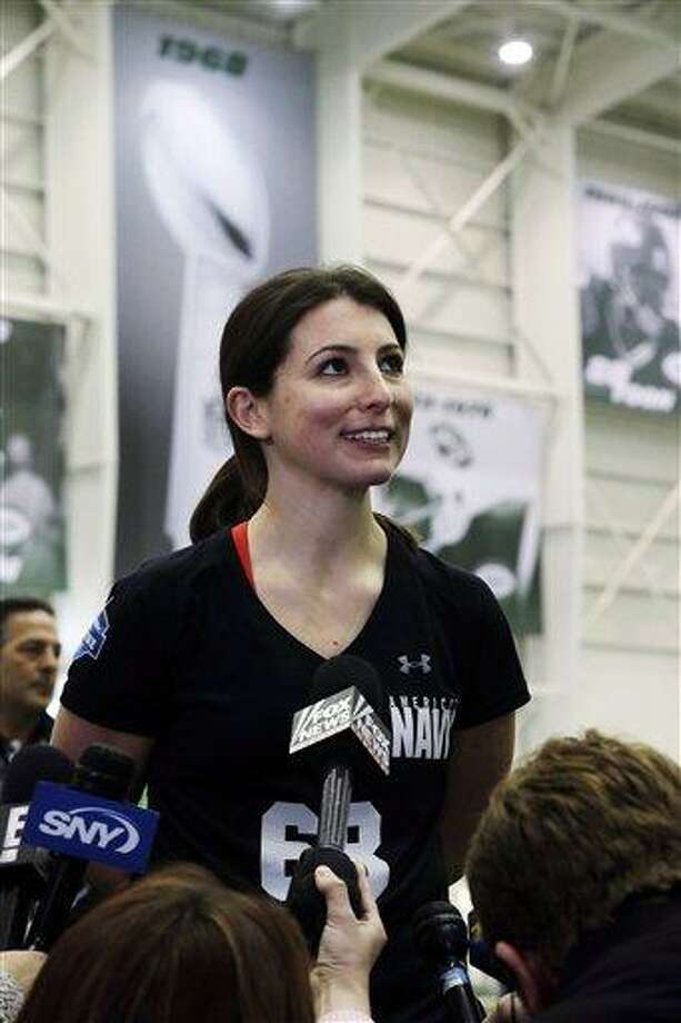 Lauren Silberman addresses reporters after taking two attempts during kicker tryouts at an NFL football regional combine workout, Sunday, March 3, 2013, at the New York Jets' training facility in Florham Park, N.J. (AP Photo/Mel Evans) Photo: AP / AP