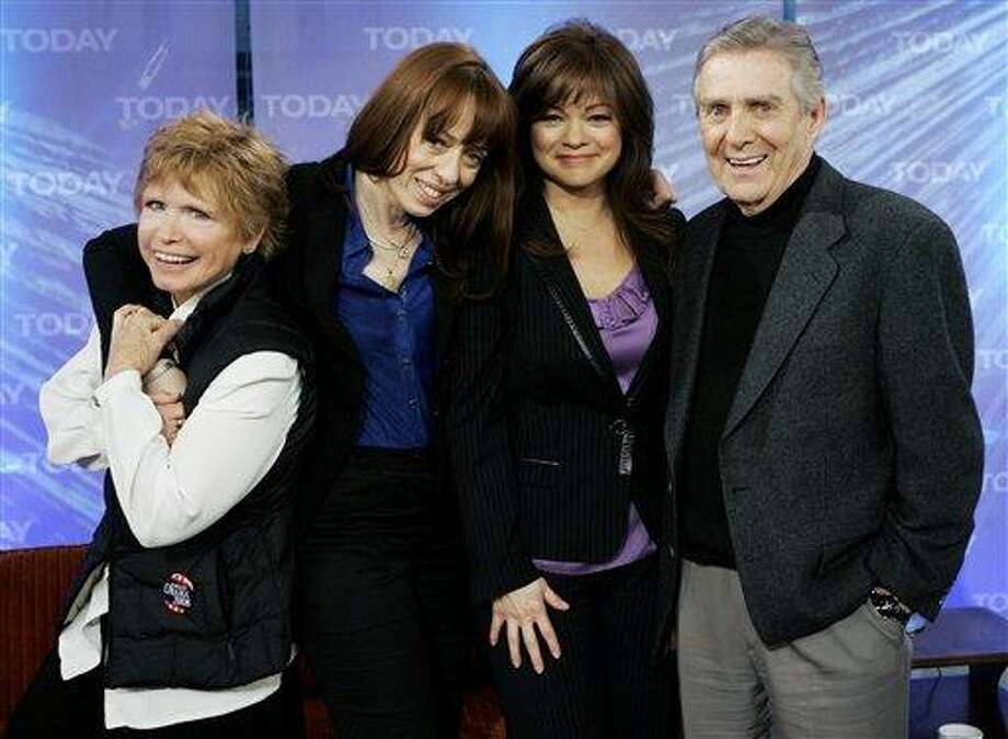 """FILE - This Feb. 26, 2008 file photo shows, from left, Bonnie Franklin, MacKenzie Phillips, Valerie Bertinelli and Pat Harrington of the 1970's television sitcom """"One Day at a Time, """" on the NBC """"Today"""" television program in New York.  Franklin, the pert, redheaded actress whom millions came to identify with for her role as divorced mom Ann Romano on the long-running sitcom """"One Day at a Time,""""  died Friday, March 1, 2013, at her home due to complications from pancreatic cancer, family members said. She was 69. Her family had announced she was diagnosed with cancer in September. (AP Photo/Richard Drew, file) Photo: AP / AP"""